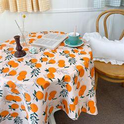 상큼컬러 오렌지 린넨면 식탁보 130x130cm