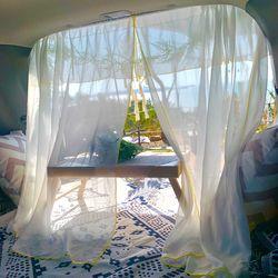 캠핑로그 옐로우 포인트 쉬폰 커튼 차량 커튼 트렁크커튼