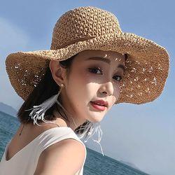 여성 모자 버킷햇 여자 밀짚 왕골 봄 여름 벙거지