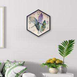 월아트 헥사곤 벽시계(깃털)