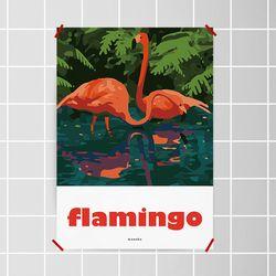 플라밍고2 M 유니크 디자인 인테리어 포스터 회화 A3(중형)