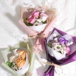장미 비누꽃 미니 꽃다발 (3colors)