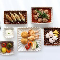 빈티지 플라워 시노기 꽃잎 그릇 일본 접시