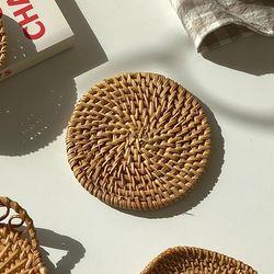 라탄 티코스터 베이직 컵받침 홈카페