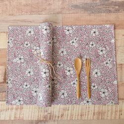 로라 방수식탁매트(핑크-가로40cm)