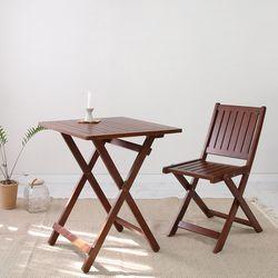 브라우니 원목 접이식 카페테이블 SET 디자인02