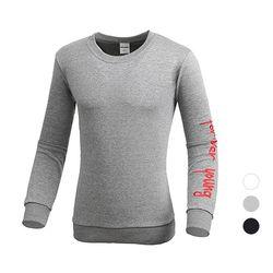 [쿠비코]숄더 자수 레터링 포인트 맨투맨 티셔츠MZ141