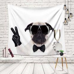 패브릭 불독 강아지 가림막 포인트 포스터 선택 소