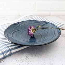 빈티지 블루플라워 양각 접시 디저트접시 데일리접시