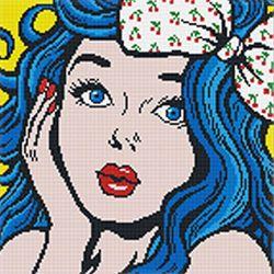 DIY 보석십자수 러블리 파란머리소녀W 30X30