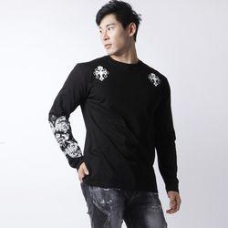 그린바나나 남자긴팔 화이트 티셔츠 GB graphic black