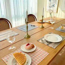 [2Set] 방수 테이블 식탁 매트 PVC매트 체크패턴 30X40