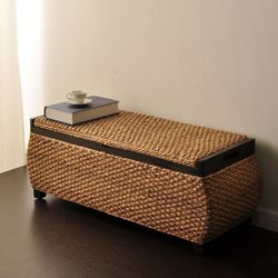 럭셔리 라탄 벤치수납장 의자