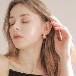 제이로렌 M03524 골드 원터치 볼드 실버 귀걸이