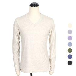 [쿠비코]보카시 무지 긴팔 브이넥 티셔츠 COT-MZ173
