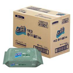유한킴벌리 에코 무형광 종이 물티슈 캡 70매 24개 한박스 42500