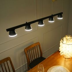 벨 5등 LED 갓등 블랙 국산 식탁등 조명 30w