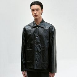 LEATHER SHIRT JACKET [BLACK]
