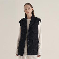 Romantic tweed Vest - Black