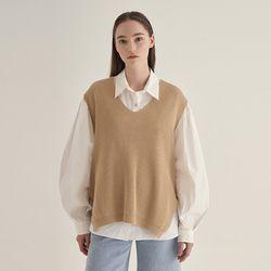Wind knit Vest - Beige