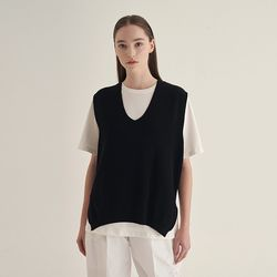 Wind knit Vest - Black