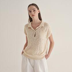 Burn linen collar Knit - Beige