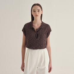 Burn linen collar Knit - Brown