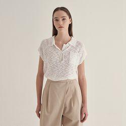 Burn linen collar Knit - White