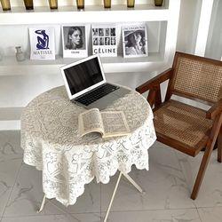 레트로 감성 플라워 레이스 식탁 책상 테이블 매트 L(120x120cm)