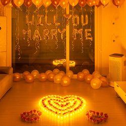 결혼 프로포즈 LED 촛불 풍선 용품 세트 E