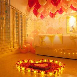 결혼 프로포즈 LED 촛불 풍선 용품 세트 O