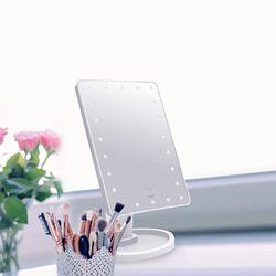 24 LED 메이크업 조명 거울-사각