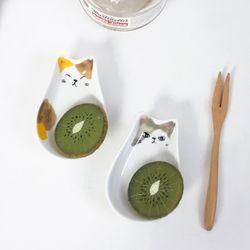 하얀 고양이 소스 종지 그릇 2세트