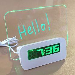 메모보드 LED 탁상시계 디지털 알람 시계 무소음 클락