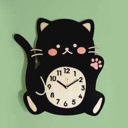 브론즈하우스 WMC-168 까만 고양이 벽시계(무소음)