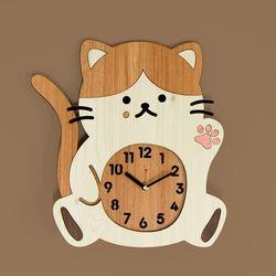 브론즈하우스 WMC-166 치즈냥 고양이 벽시계(무소음)