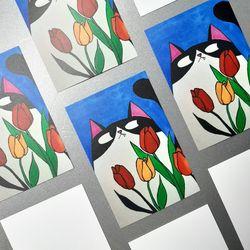 꽃밭의 고양이 일러스트 엽서