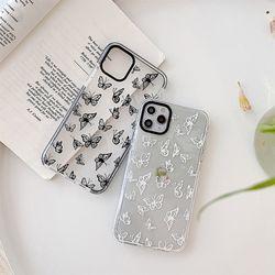 나비 패턴 범퍼 젤리 케이스 아이폰11 12 Pro MAX