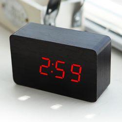 우드블럭 LED시계 온도계+원목 알람시계 무소음 탁상시계