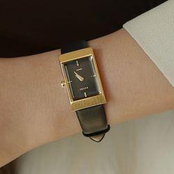 여성 빈티지 가죽 손목 시계 바우스 그리드 블랙 골드