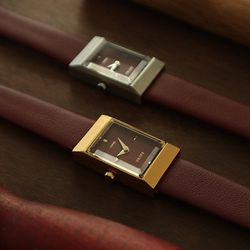 20대 여성 가죽 손목 시계 브랜드 그리드 버건디
