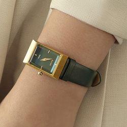 여자 고등학생 가죽 시계 바우스 그리드 그린 골드