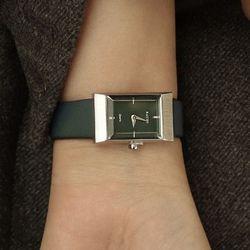 여자 고등학생 가죽 시계 바우스 그리드 그린 실버