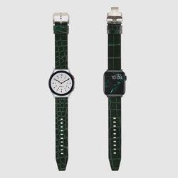 [MR TIME Crocodile Leather] 악어가죽 시계줄 핀버클 그린