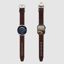 [MR TIME Crocodile Leather] 악어가죽 시계줄 핀버클 브라운