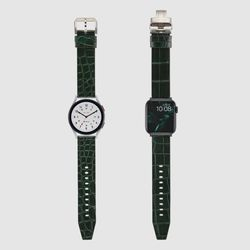 [MR TIME Crocodile Leather] 악어가죽 시계줄 디버클 그린