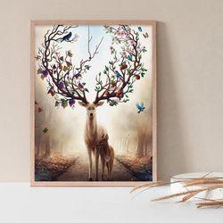 자연품은 사슴 DIY명화그리기 유화그리기세트 명화색칠하기