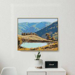 산이있는 호수 DIY명화그리기 유화그리기세트 명화색칠하기