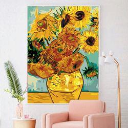 황금 꽃병에 해바라기 DIY명화그리기 유화그리기세트