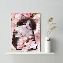 사랑스러운 고양이와 꽃 DIY명화그리기 유화그리기세트
